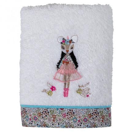 Serviette de toilette bouclette de coton broderie animaux et fleurs Romance ivoire