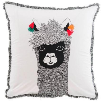Taie d'oreiller carrée percale de coton imprimée Serge