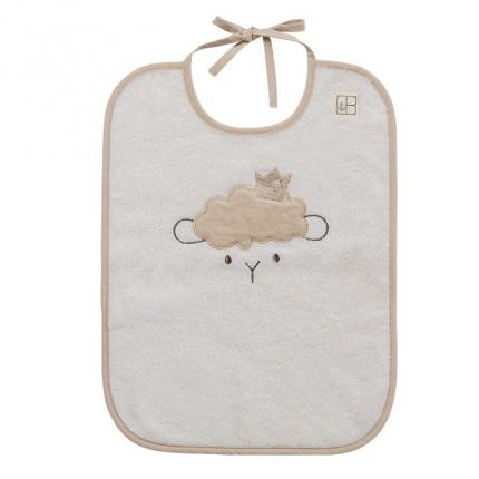 Bavoir bouclette de coton biologique broderie petit mouton Sherpa écru