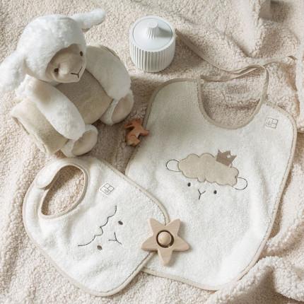 Parure de bain bouclette de coton biologique broderie petit mouton Sherpa