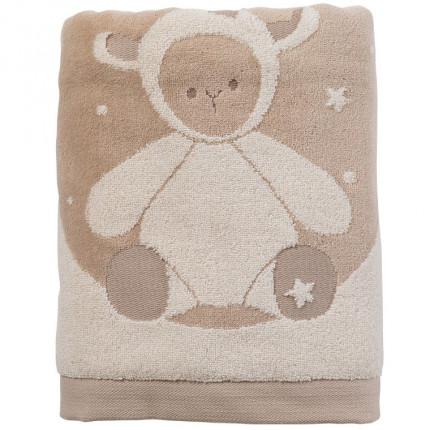 Drap de bain bouclette de coton biologique motif jacquard petit mouton Sherpa écru
