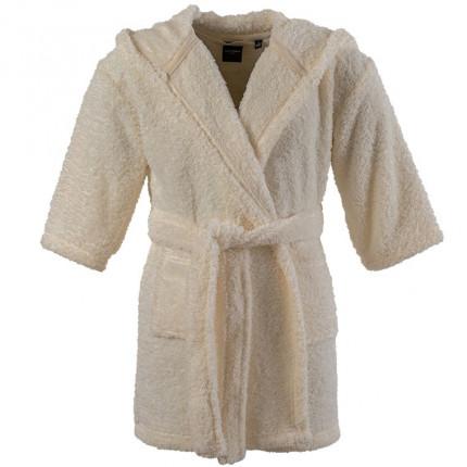 Robe de chambre enfant polaire à capuche broderie Sherpa écru