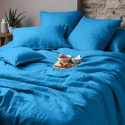 Housse de couette en lin lavé Songe bleu