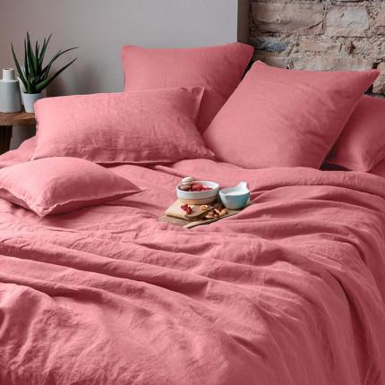 Parure de lit en lin lavé Songe bois de rose