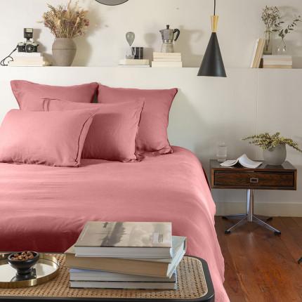Parure de lit lin et coton lavé Songe bois de rose
