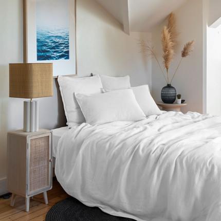 Parure de lit lin et coton lavé Songe blanc