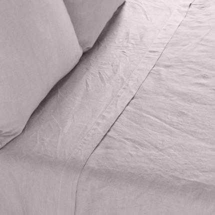 Drap de lit en lin lavé Songe grège