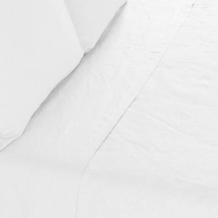 Drap de lit en lin lavé Songe blanc