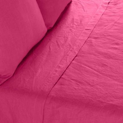 Drap de lit en lin lavé Songe framboise