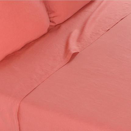 Drap de lit en lin lavé Songe blush
