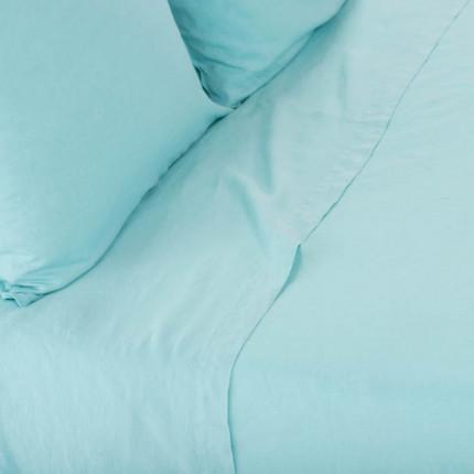 Drap de lit en lin lavé Songe céladon