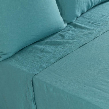 Drap de lit en lin lavé Songe pétrole