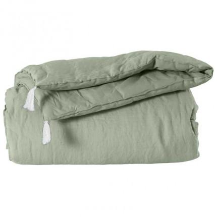 Edredon lin et coton lavé uni Songe eucalyptus