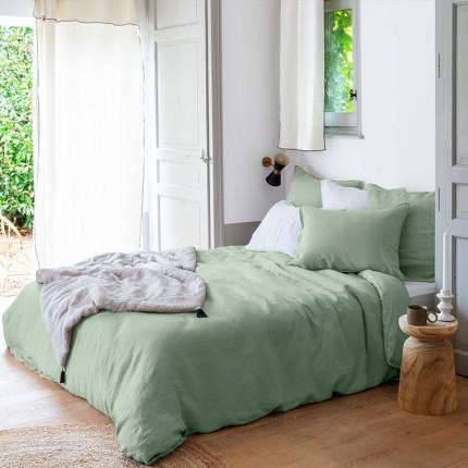 Parure de lit lin et coton lavé Songe eucalyptus