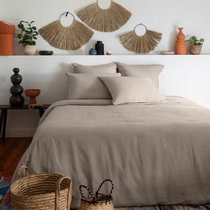 Parure de lit lin et coton lavé Songe grège