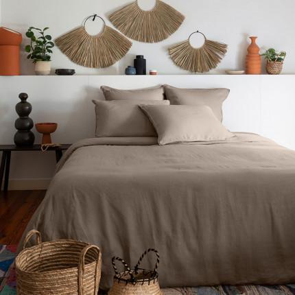 Parure de lit lin et coton lavé Songe taupe