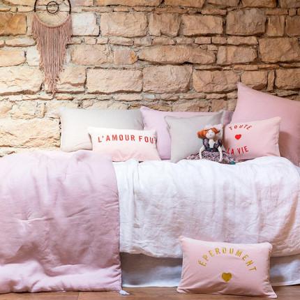 Parure de lit enfant en lin lavé Songe blanc et poudre