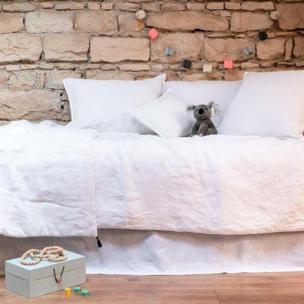 Parure de lit enfant en lin lavé Songe blanc