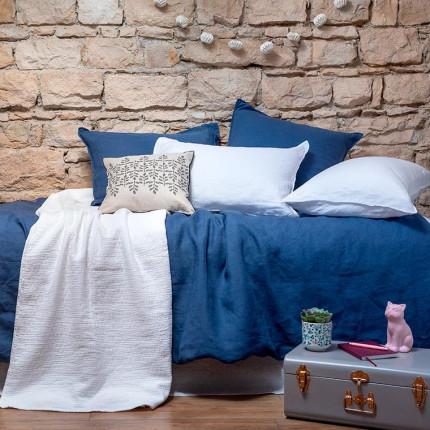 Parure de lit enfant en lin lavé Songe encre et blanc