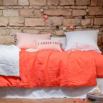 Parure de lit enfant en lin Songe papaye