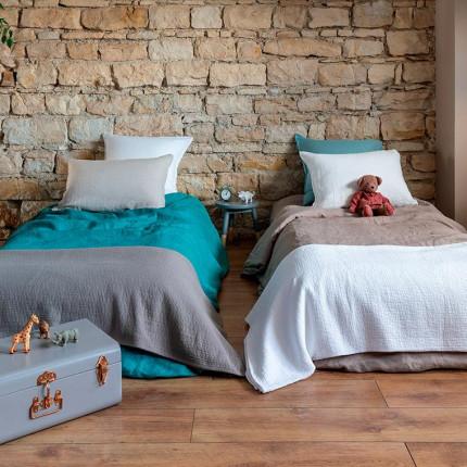 Parure de lit enfant en lin lavé Songe taupe