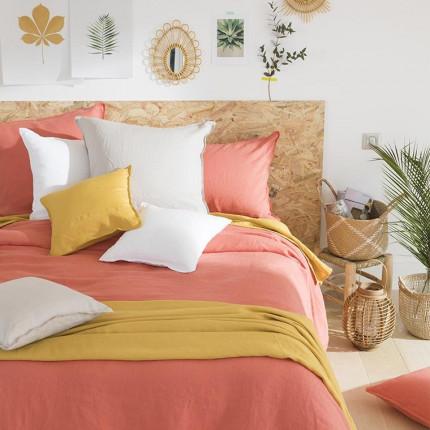 Parure de lit en lin lavé Songe blush