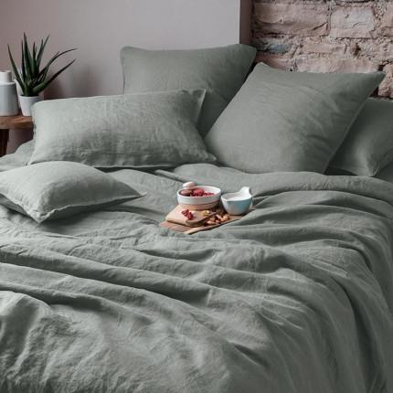 Parure de lit en lin lavé Songe kaki cendré