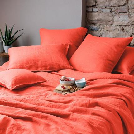 Parure de lit en lin lavé Songe papaye