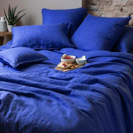 Parure de lit en lin lavé Songe cobalt