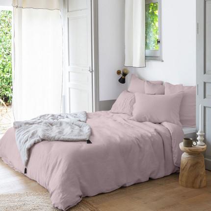 Parure de lit lin et coton lavé Songe poudre