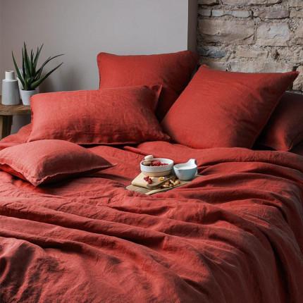 Parure de lit en lin lavé Songe sienne