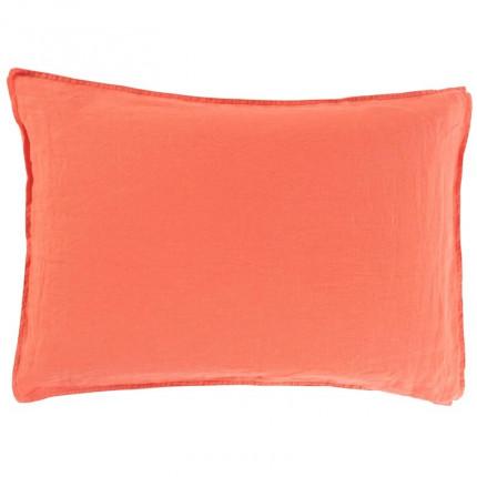 Taie d'oreiller rectangulaire en lin lavé Songe papaye