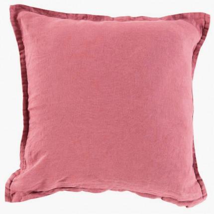Housse de coussin en lin lavé Songe bois de rose
