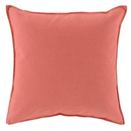 Taie d'oreiller carrée en lin lavé Songe blush