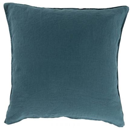 Taie d'oreiller carrée en lin lavé Songe feuille
