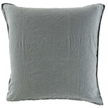 Taie d'oreiller carrée en lin lavé Songe kaki cendré