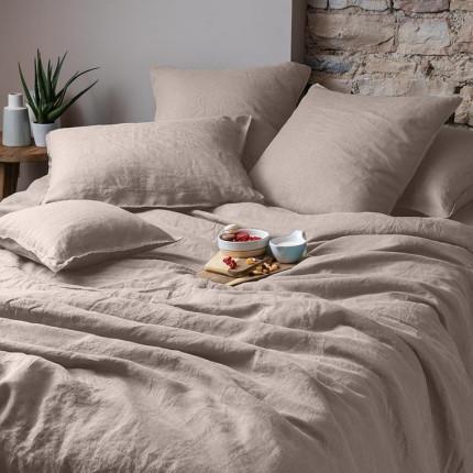 Parure de lit en lin lavé Songe taupe