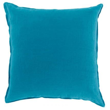 Taie d'oreiller carrée en lin lavé Songe bleu