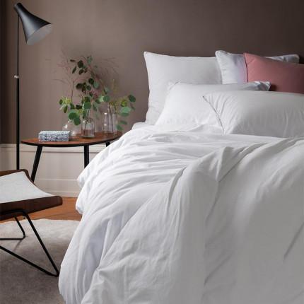 Parure de lit en pur coton lavé biologique Souffle blanc