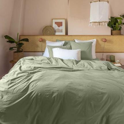 Parure de lit pur coton lavé biologique Souffle sauge