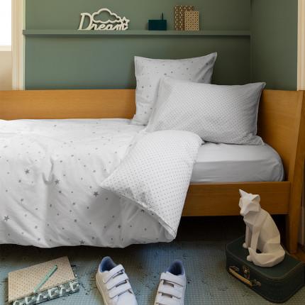 Parure de lit en coton lavé Stars blanc