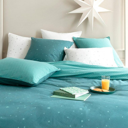 Parure de lit en coton lavé Stars céladon
