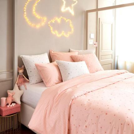 Parure de lit en coton lavé Stars rose