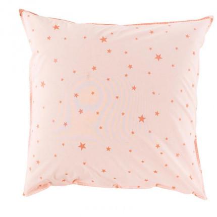 Taie d'oreiller carrée coton lavé étoile Stars rose