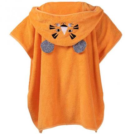Poncho enfant coton à capuche oreilles de tigre Tigerful orange