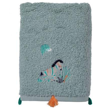 Drap de bain coton biologique brodé zèbre Tribu amande
