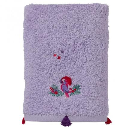 Drap de bain coton biologique brodé perroquet Tribu parme