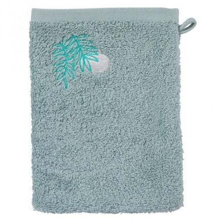 Gant de toilette coton biologique brodé Tribu amande