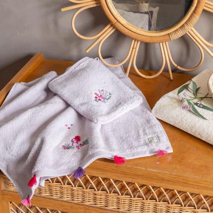Parure de bain coton biologique brodée perroquet Tribu parme