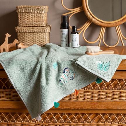 Parure de bain coton biologique brodée zèbre Tribu amande